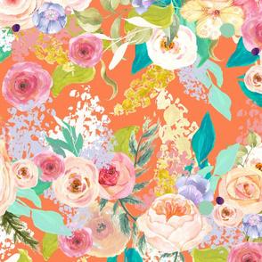 Pastel Garden Spring Floral // Persimmon