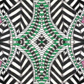 AZTEC BLACK, WHITE and  MULTI COLOR  LEAVES