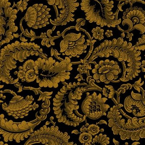 Almack's Blocked Floral ~ Faux Gold on Black