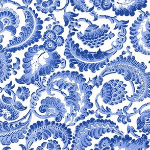 Almack's Blocked Floral ~ Willow Ware Blue and White