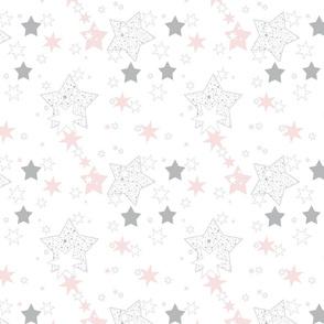 January Stars Blush and Gray Constellation
