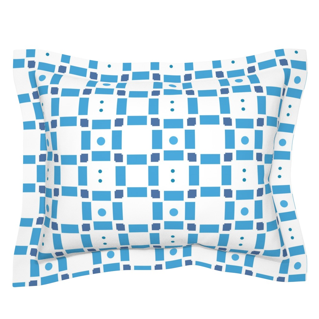 Sebright Pillow Sham featuring Erica Lindberg Sunfish_blue check3 by erica_lindberg_designs