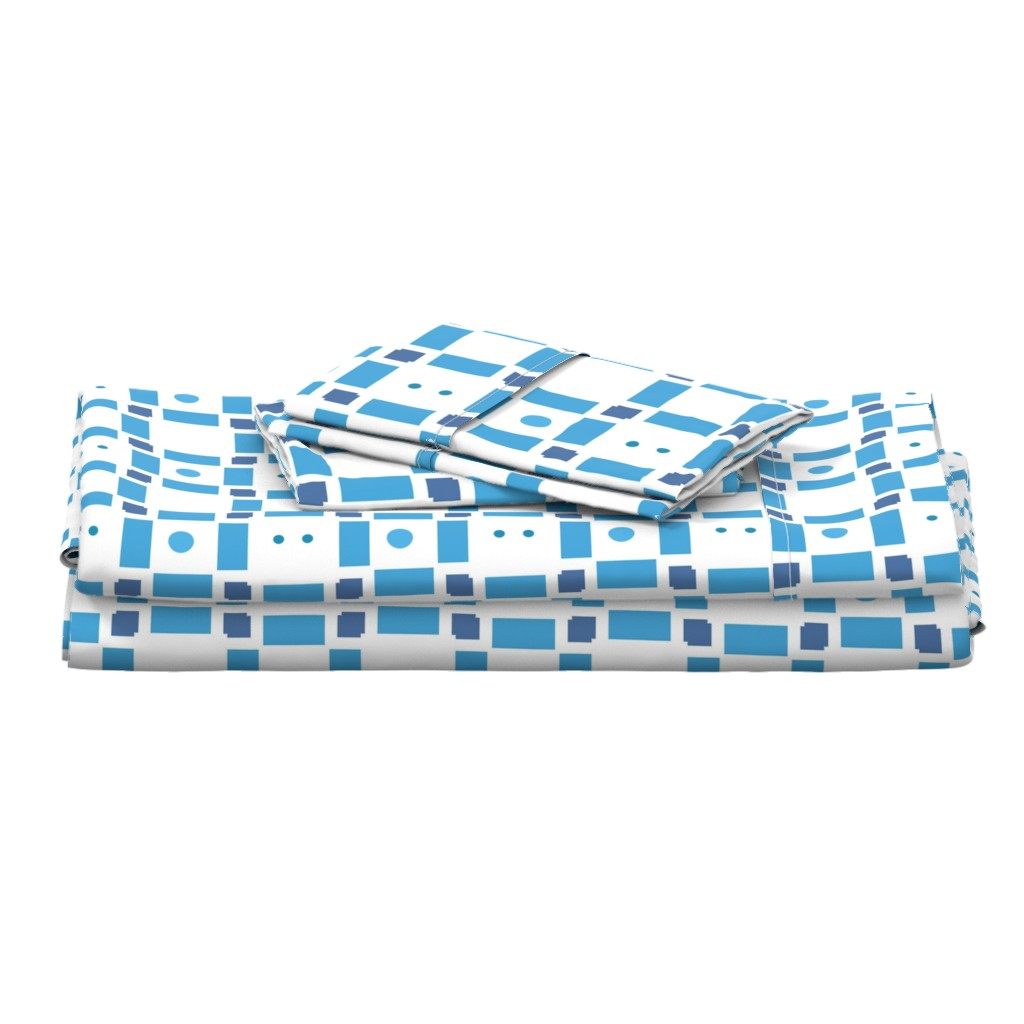 Langshan Full Bed Set featuring Erica Lindberg Sunfish_blue check3 by erica_lindberg_designs