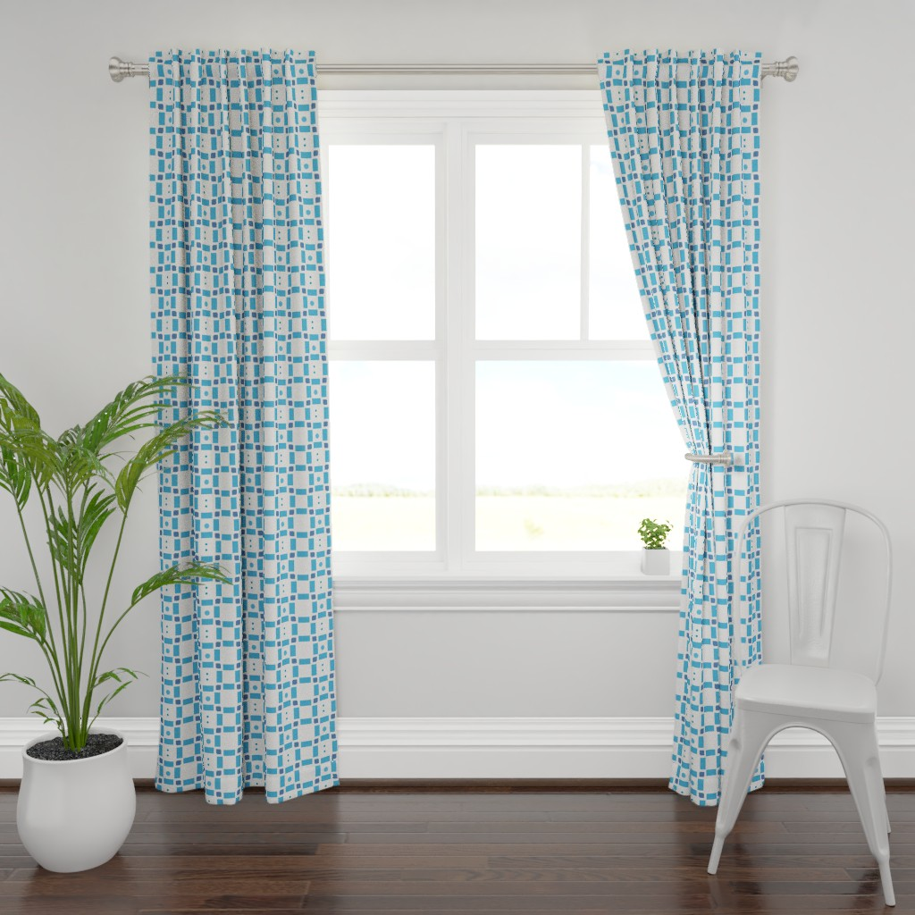 Plymouth Curtain Panel featuring Erica Lindberg Sunfish_blue check3 by erica_lindberg_designs
