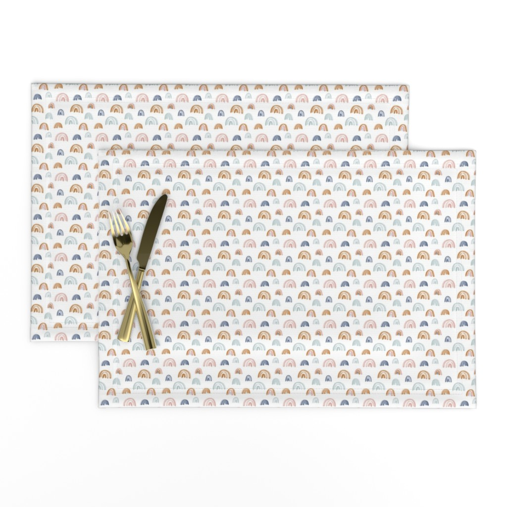 """Lamona Cloth Placemats featuring Scattered Rainbows .5"""" Earth Tones by anniemontgomerydesign"""