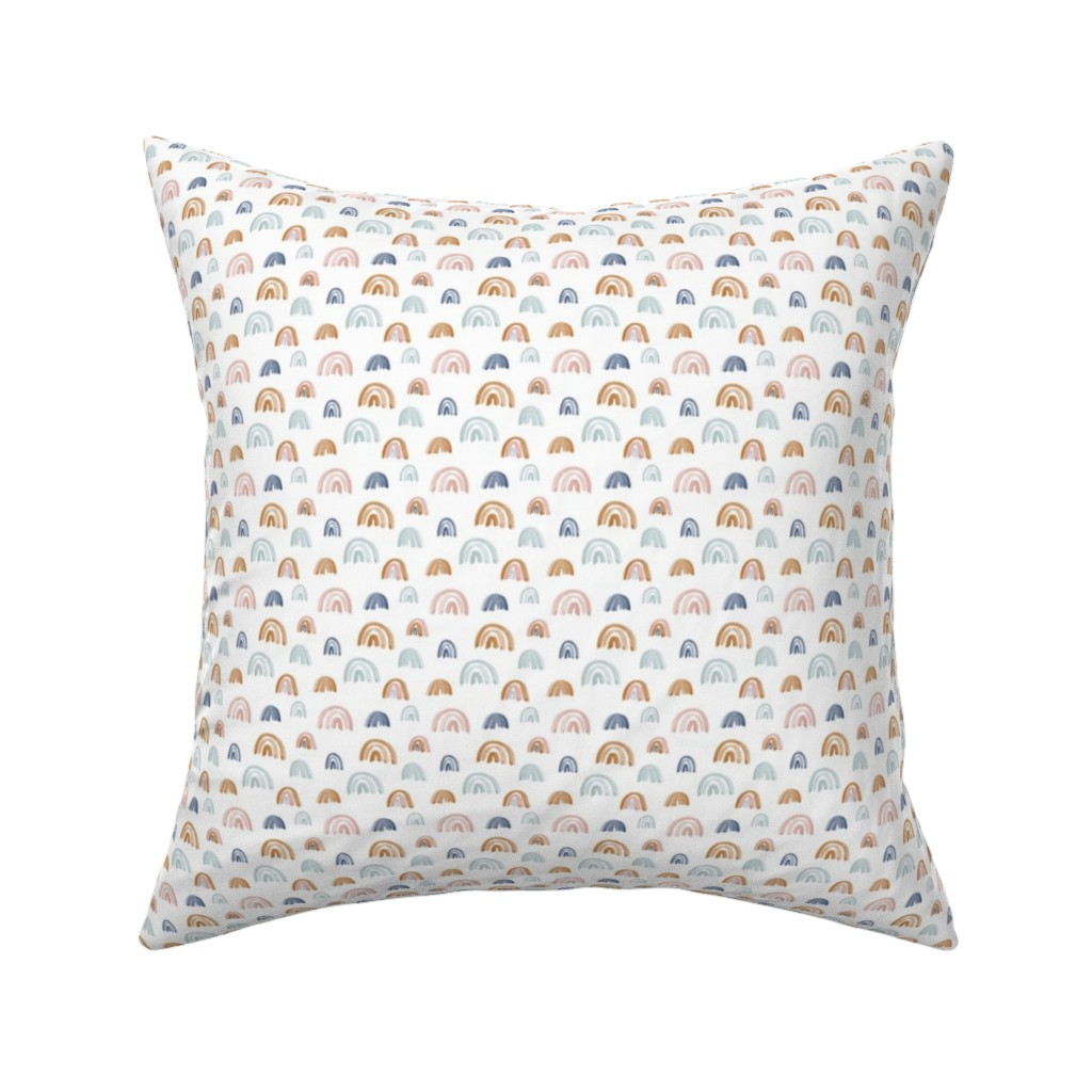 "Catalan Throw Pillow featuring Scattered Rainbows .5"" Earth Tones by anniemontgomerydesign"