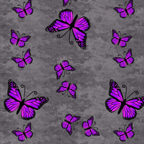 Monarch Butterflies Purple on Gray Granite