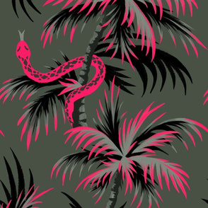 Snake Palms - Dark Vintage Coral - Large Scale - AndreaAlice