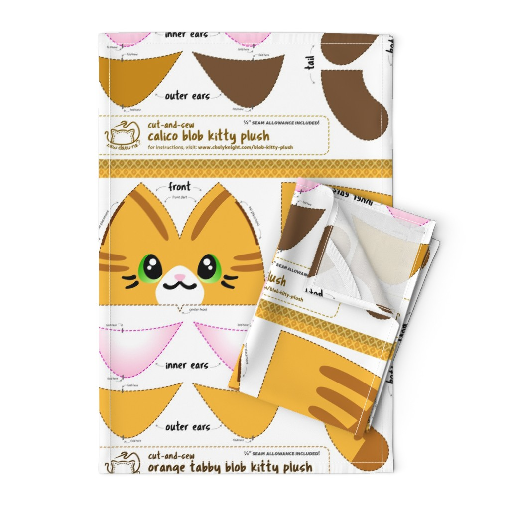 Orpington Tea Towels featuring Cut & Sew Blob Kitty Plush Compilation by sewdesune