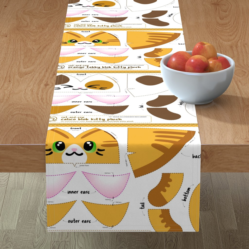 Minorca Table Runner featuring Cut & Sew Blob Kitty Plush Compilation by sewdesune