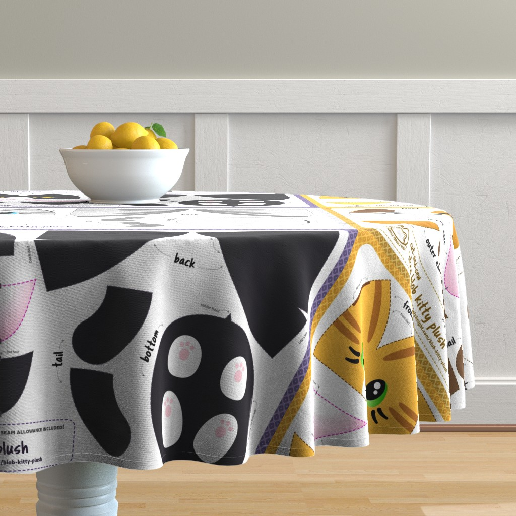 Malay Round Tablecloth featuring Cut & Sew Blob Kitty Plush Compilation by sewdesune