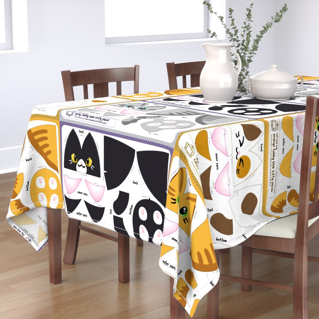 Bantam Rectangular Tablecloth featuring Cut & Sew Blob Kitty Plush Compilation by sewdesune