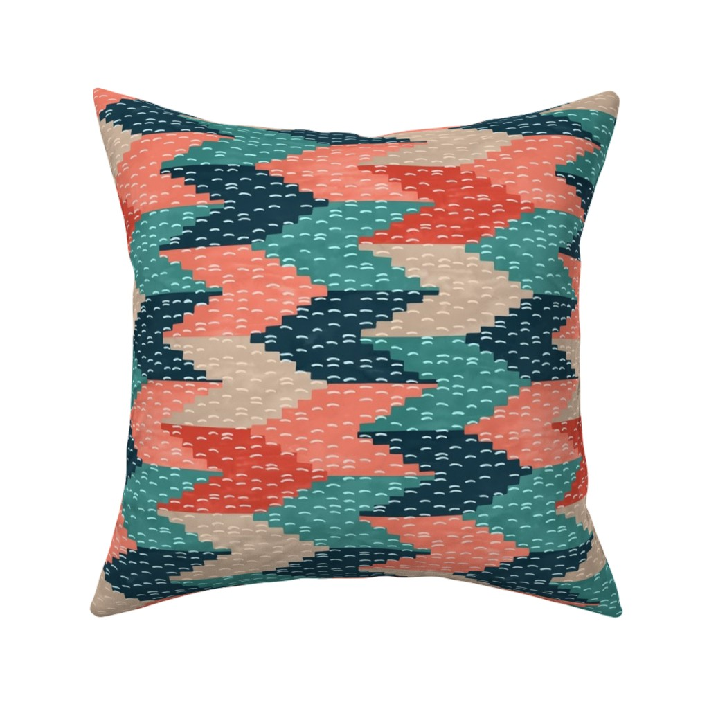 Catalan Throw Pillow featuring Kilim Weaving Structure Persian Green by marketa_stengl