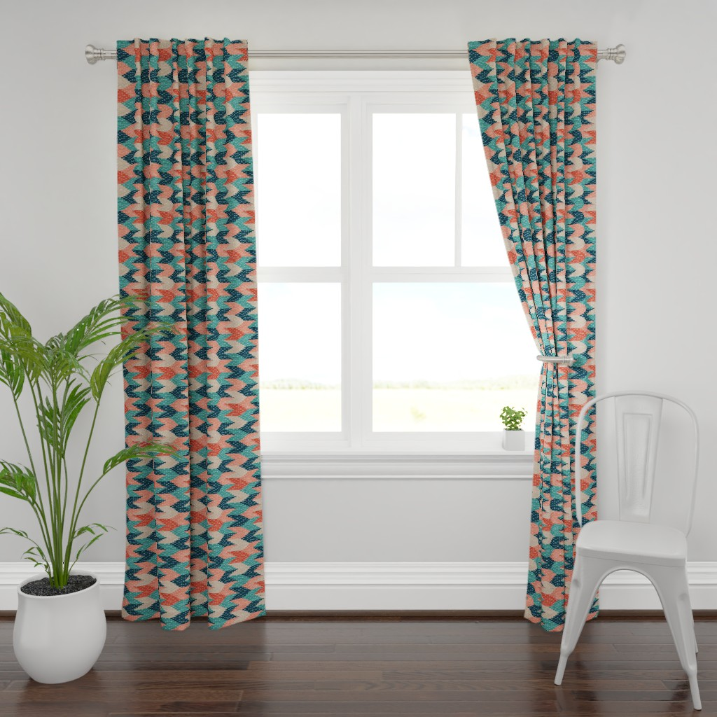 Plymouth Curtain Panel featuring Kilim Weaving Structure Persian Green by marketa_stengl