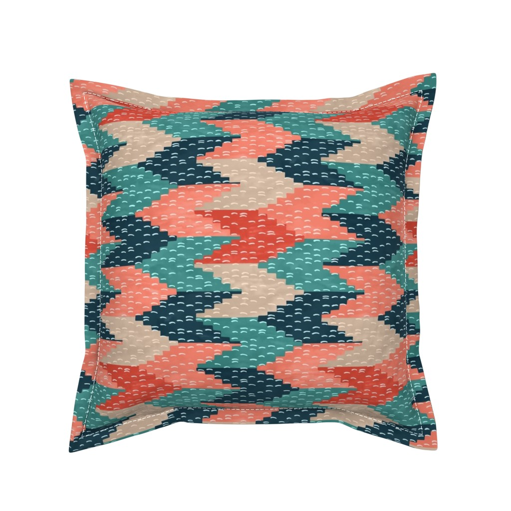Serama Throw Pillow featuring Kilim Weaving Structure Persian Green by marketa_stengl