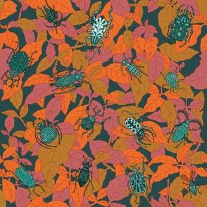 Beetles on Leaves - original