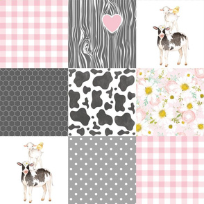 Farm // Love you till the cows come home - wholecloth cheater quilt - Pink