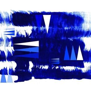 Blue and white London tea towel