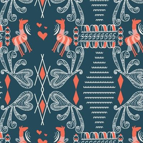 Greek art Llamas, dark blue, peach, llama fabric, grecian, greek art