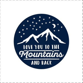 """9"""" quilt block (navy) - Love you to the mountains and back - with cut lines"""