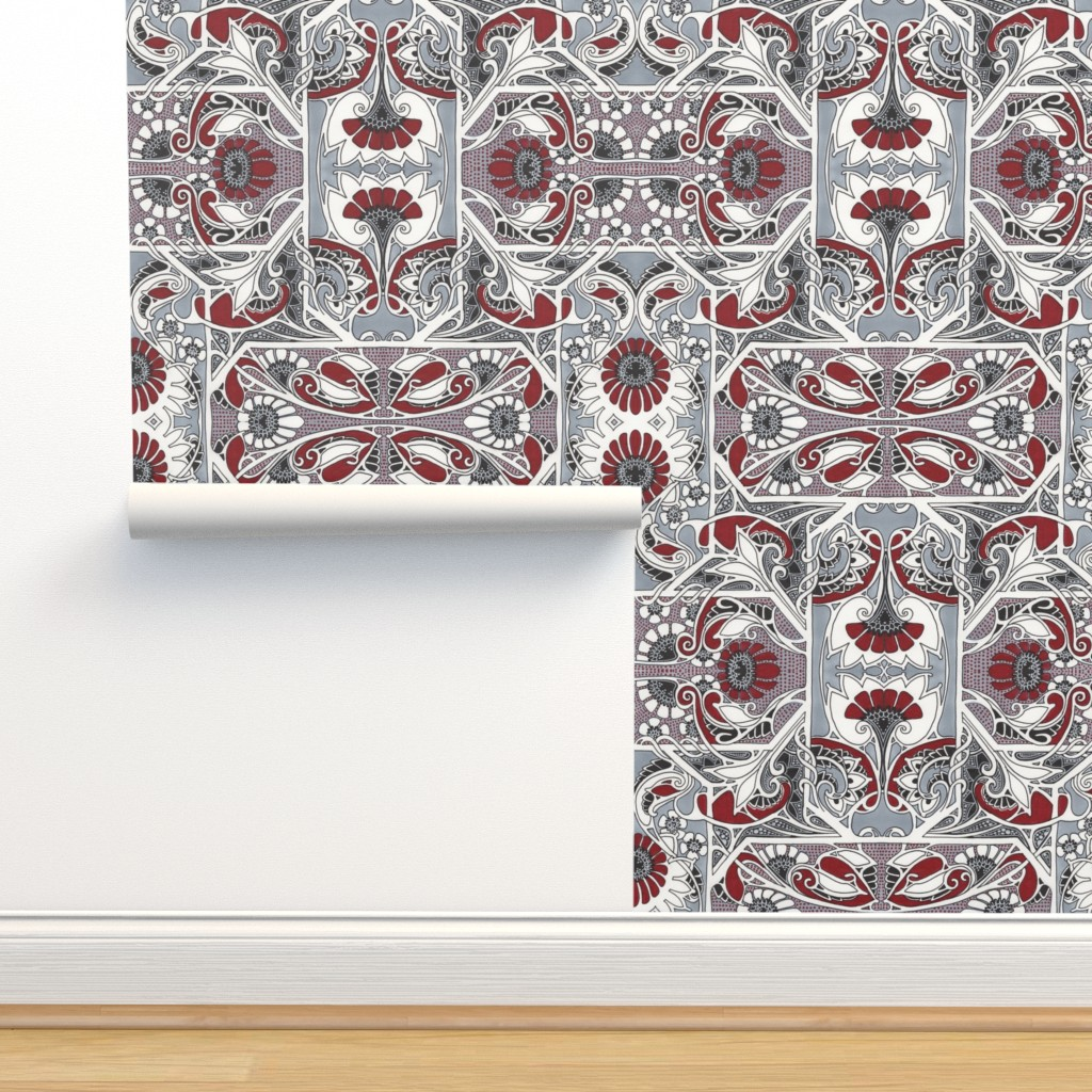 Isobar Durable Wallpaper featuring Houndstooth Geranuim Squares by edsel2084