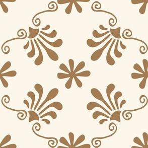 Greek Tile  - Tan On Cream