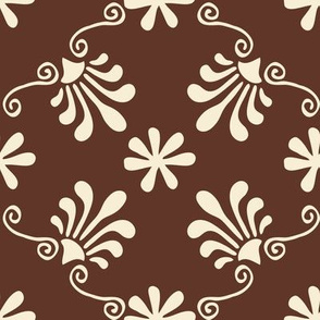 Greek Tile - Cream On Brown