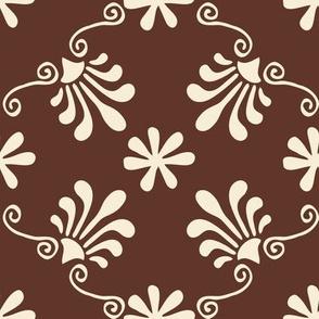 Greek Tile - Cream On Brown