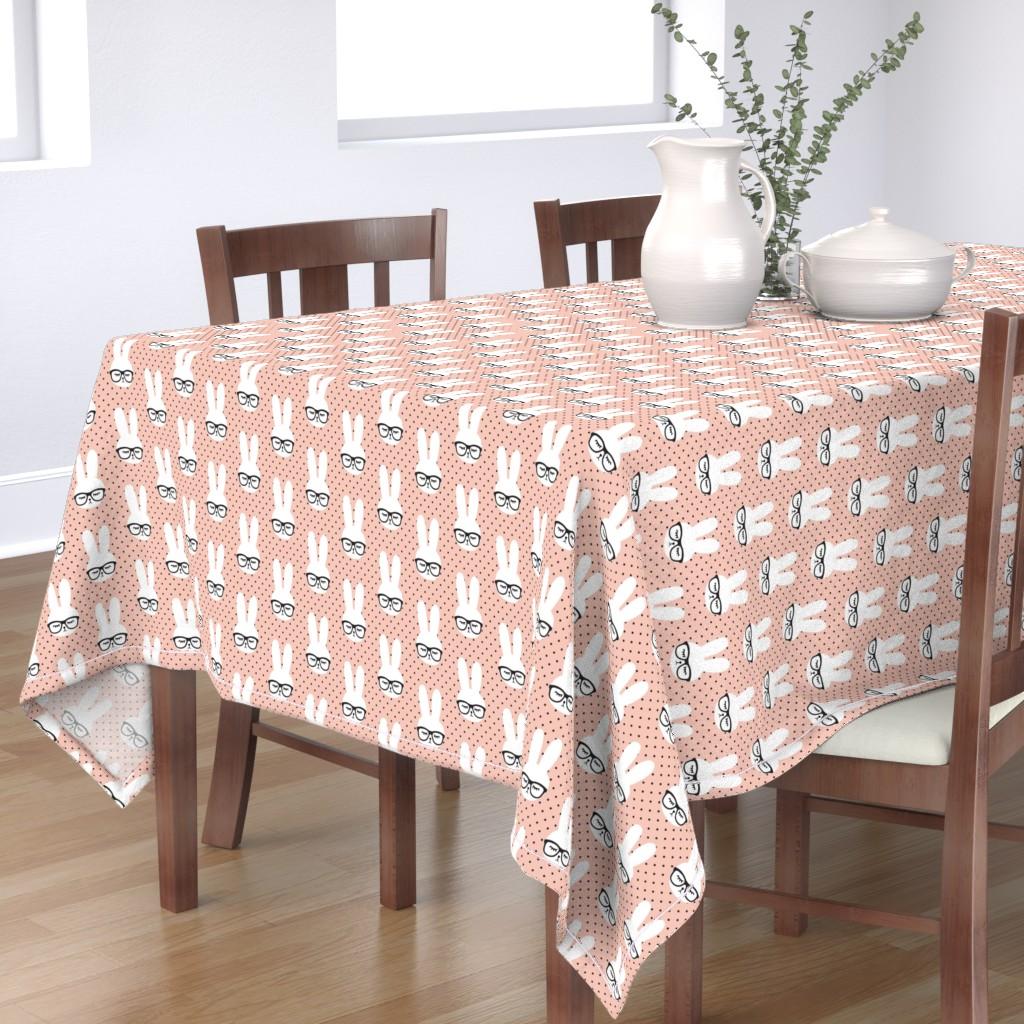 Bantam Rectangular Tablecloth featuring bunny with glasses - salmon peach polka by littlearrowdesign