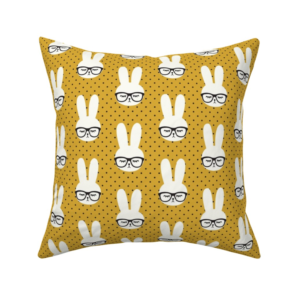 Catalan Throw Pillow featuring bunny with glasses - mustard polka by littlearrowdesign