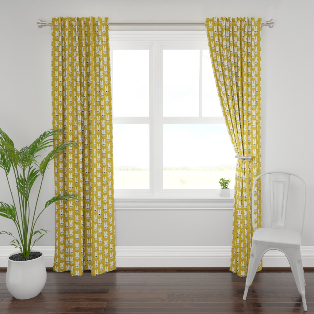Plymouth Curtain Panel featuring bunny with glasses - mustard polka by littlearrowdesign