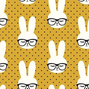 bunny with glasses - mustard polka