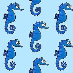 Cute Seahorses on Blue