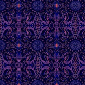 Curves & Lotus Flowers, Violet, Blue, Pink and Black