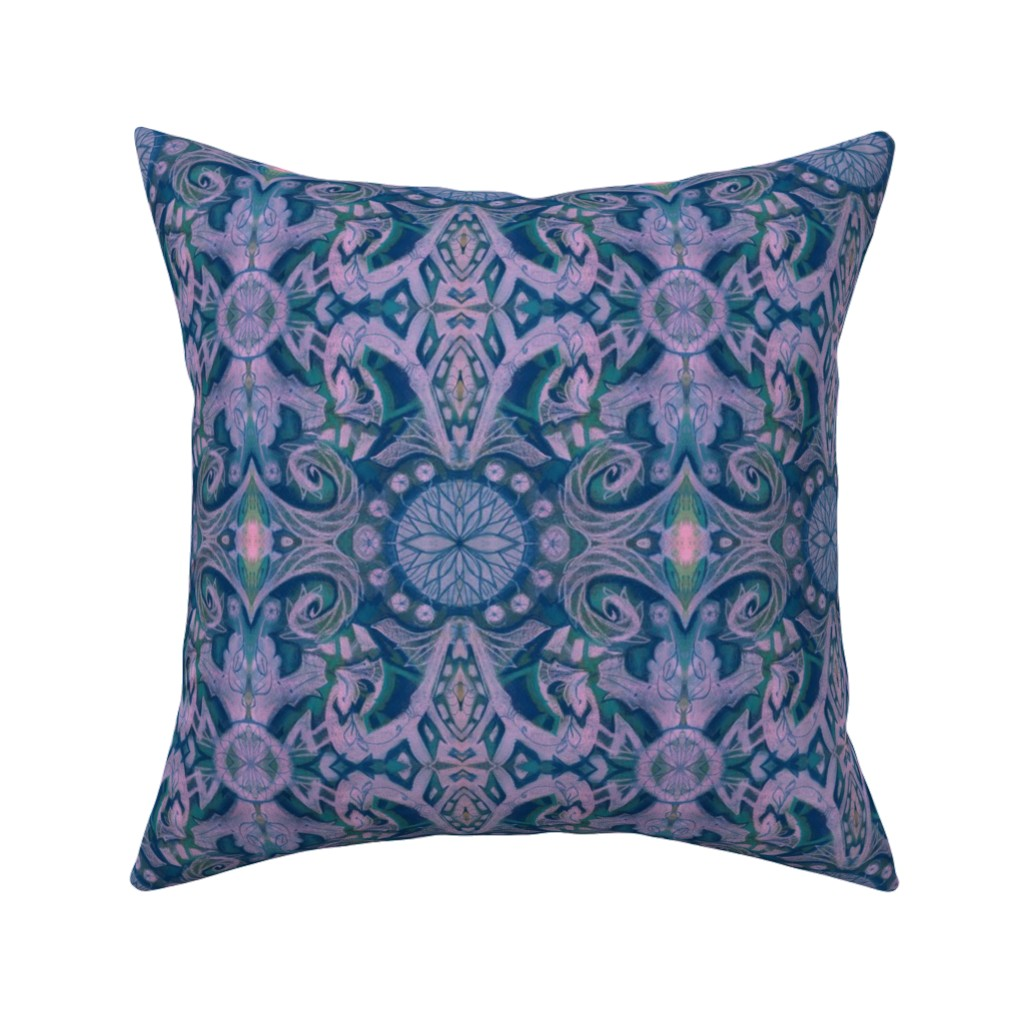 Catalan Throw Pillow featuring Curves & Lotus Flowers, Lilac, Navy Blue and Teal, abstract floral pattern by clipsocallipso
