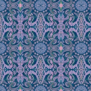 Curves & Lotus Flowers, Lilac, Navy Blue and Teal, abstract floral pattern