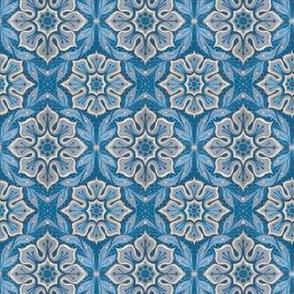 Snow Flower, Blue & Grey