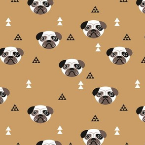 Geometric pug love puppy dog illustration cute kids retro animals in kaki gender neutral