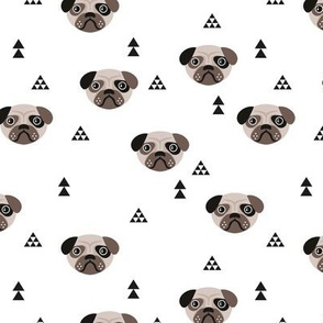 Geometric pug love puppy dog illustration cute kids retro animals in monochrome black and white gender neutral