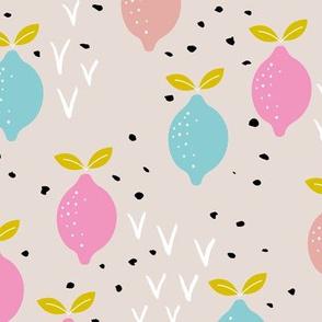Pastel lemon poppy fruit and flower winter garden modern abstract botanical designs pink peach blue