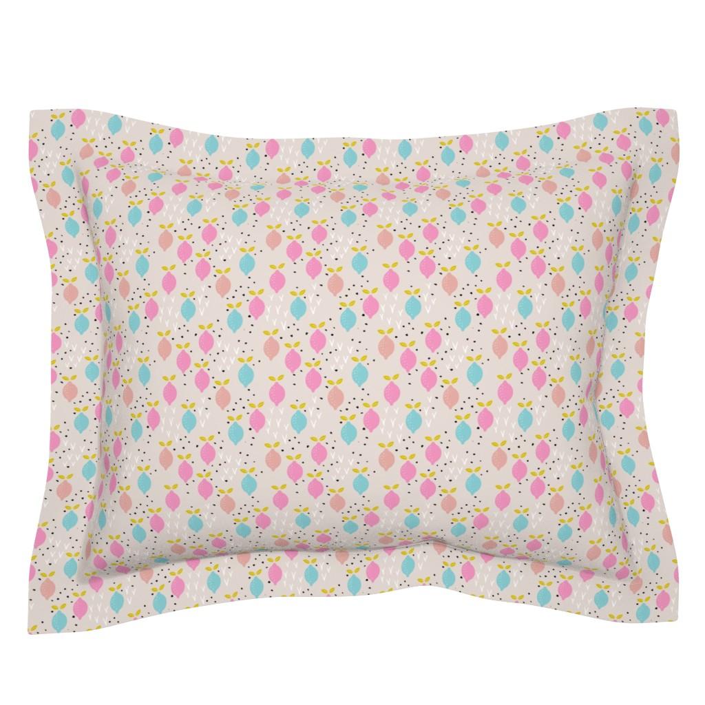 Sebright Pillow Sham featuring Pastel lemon poppy fruit and flower winter garden modern abstract botanical designs pink peach blue SMALL by littlesmilemakers