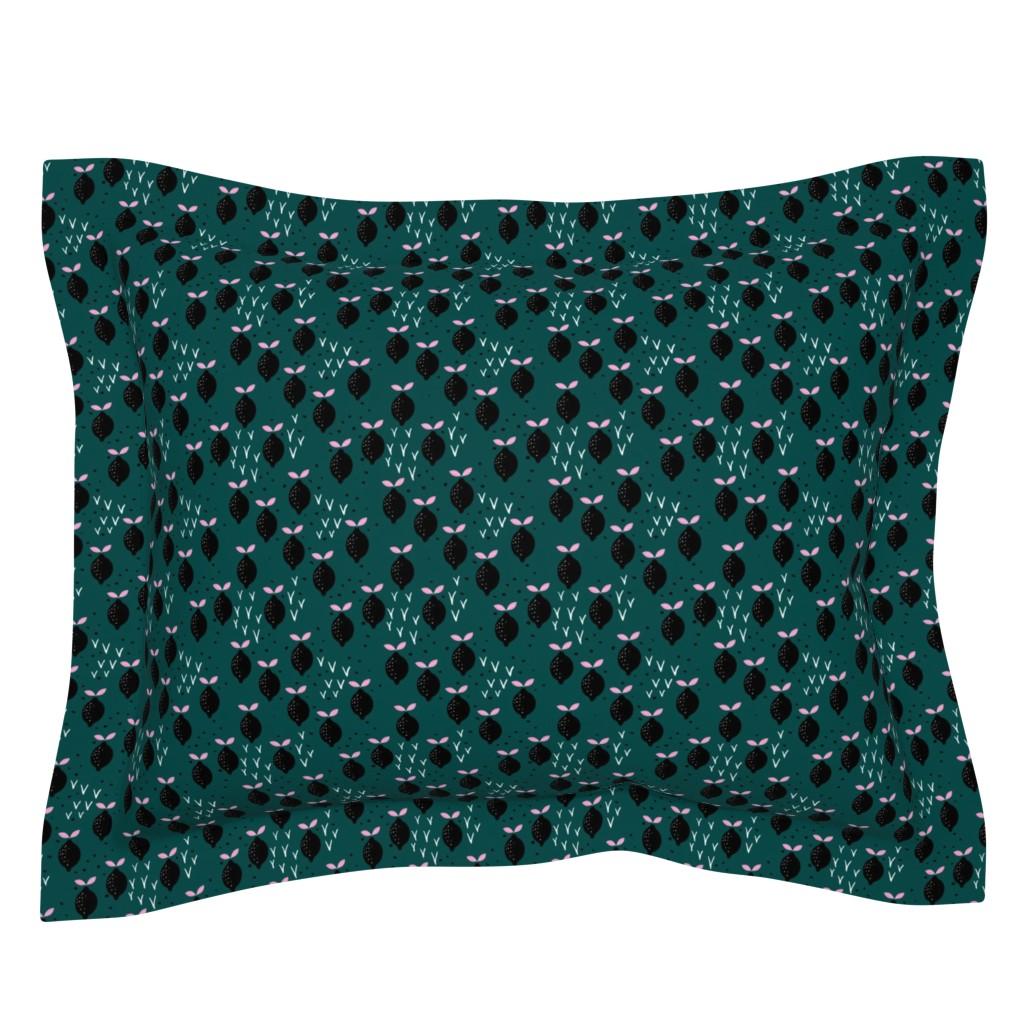Sebright Pillow Sham featuring Teal lemon poppy fruit and flower winter garden modern abstract botanical designs pink mint SMALL by littlesmilemakers