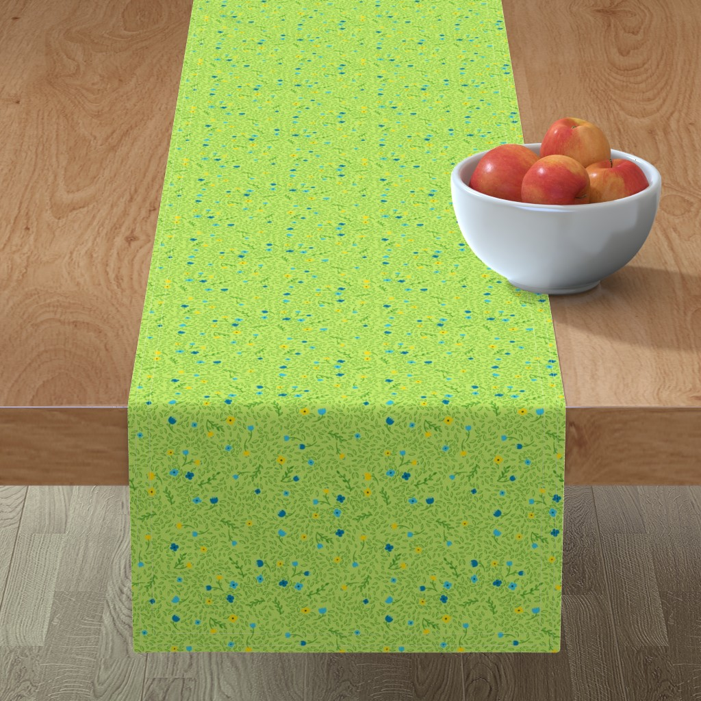 Minorca Table Runner featuring Dappled Garden in Cool by wildnotions