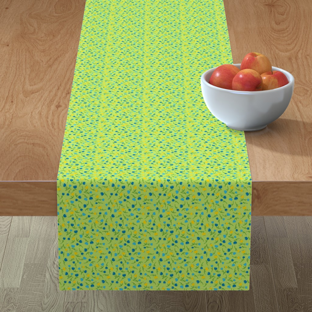 Minorca Table Runner featuring Tulip Parade in Cool by wildnotions