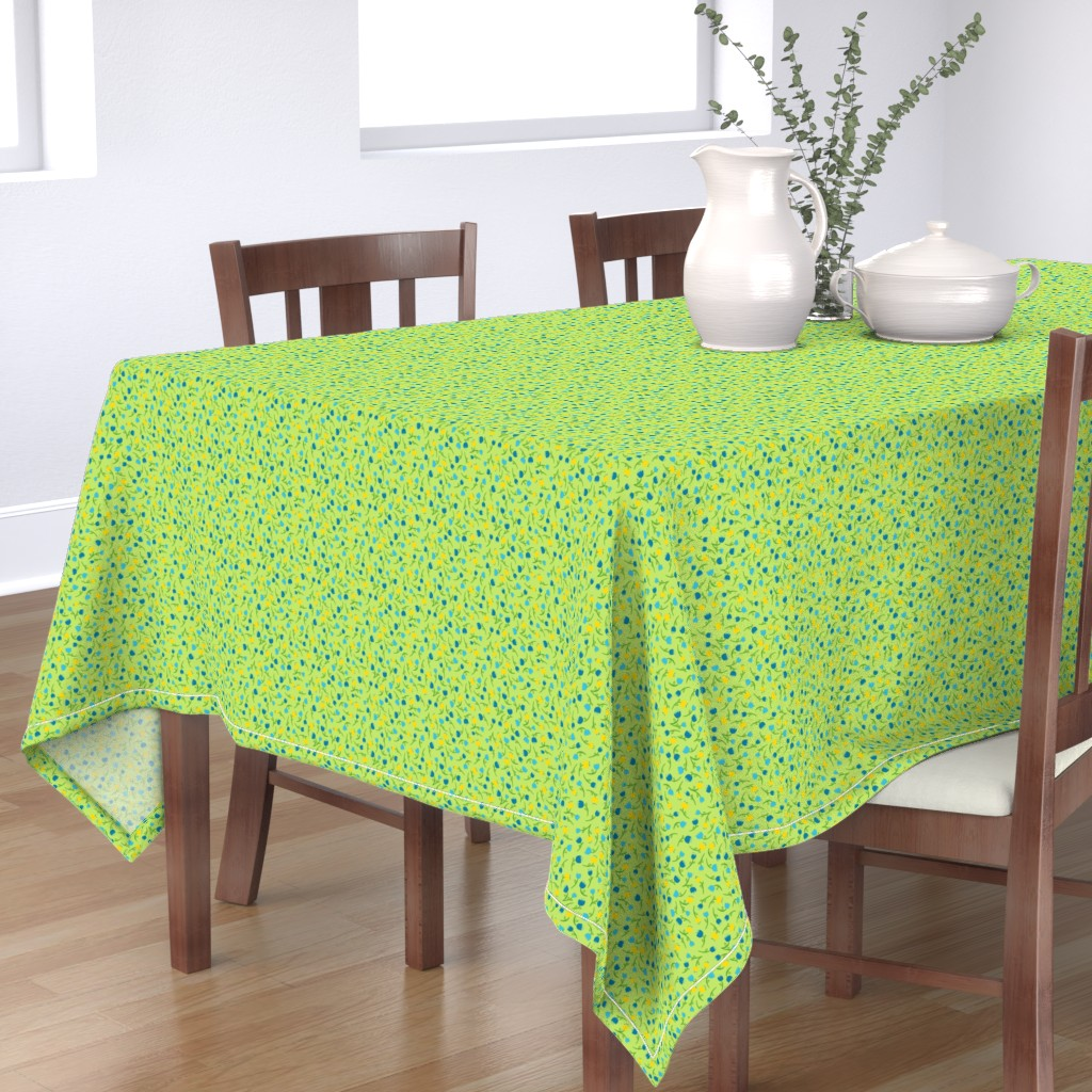 Bantam Rectangular Tablecloth featuring Tulip Parade in Cool by wildnotions