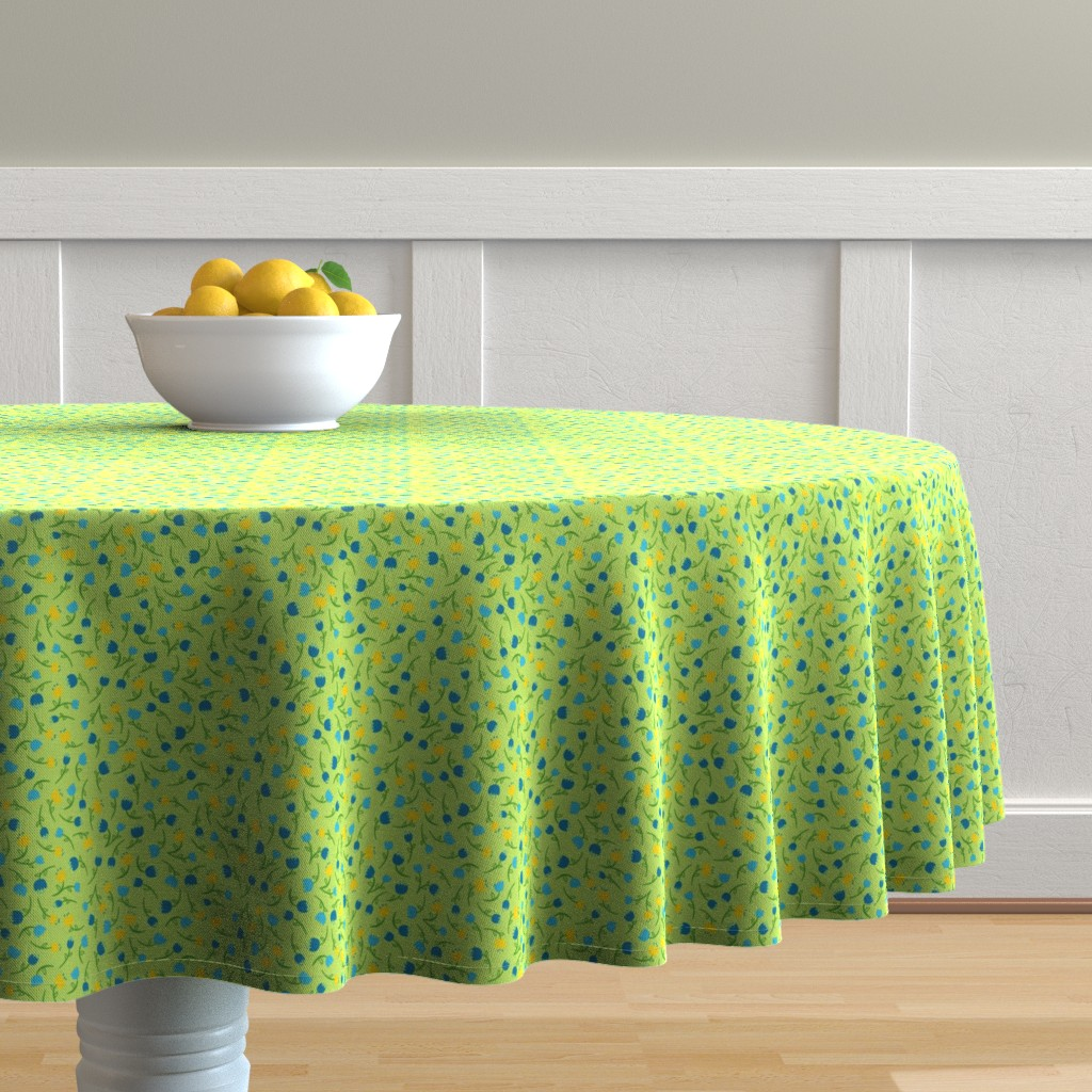 Malay Round Tablecloth featuring Tulip Parade in Cool by wildnotions