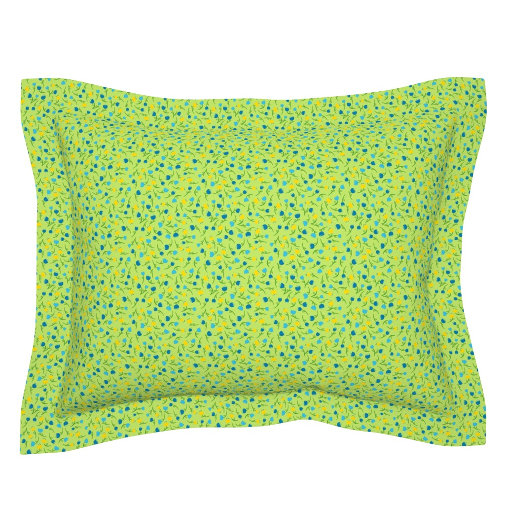 Sebright Pillow Sham featuring Tulip Parade in Cool by wildnotions