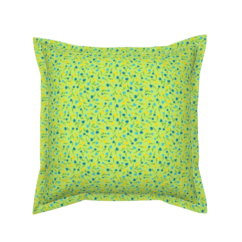 Serama Throw Pillow featuring Tulip Parade in Cool by wildnotions