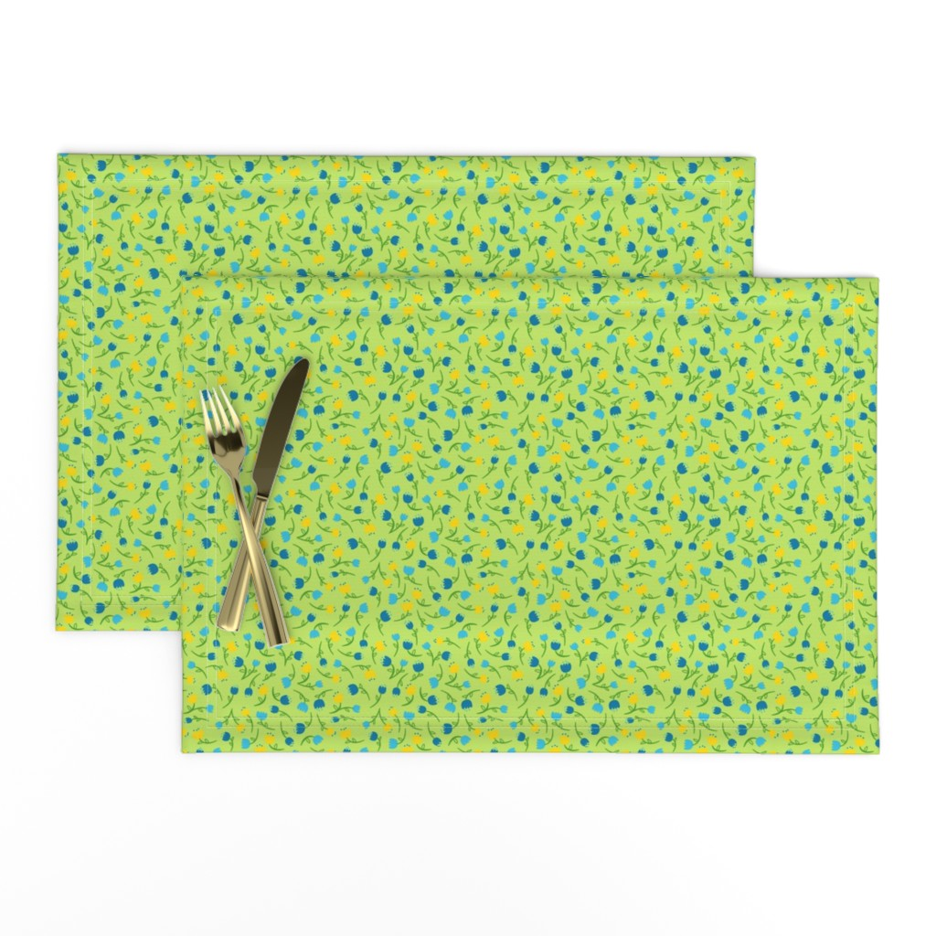Lamona Cloth Placemats featuring Tulip Parade in Cool by wildnotions