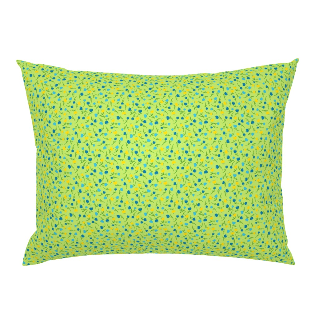 Campine Pillow Sham featuring Tulip Parade in Cool by wildnotions